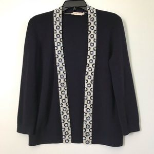 Tory Burch Navy Open Front Beaded Cardigan